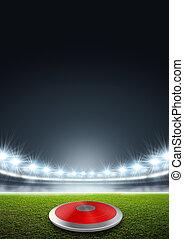 Discus In Generic Floodlit Stadium - A discus in a generic...