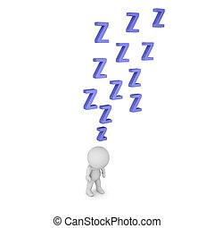 3D Character is Very Sleepy - 3D character standing with...