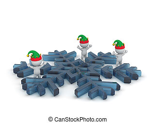 3D Characters with Elf Hats and Large Snowflake