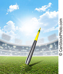 Javelin In Stadium And Green Turf - A javelin pegged into...