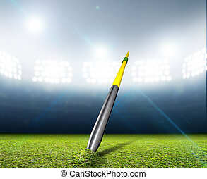 Javelin In Generic Floodlit Stadium - A javelin pegged into...