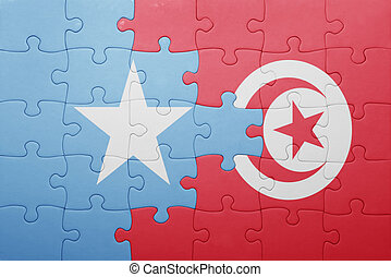 puzzle with the national flag of tunisia and somalia concept...