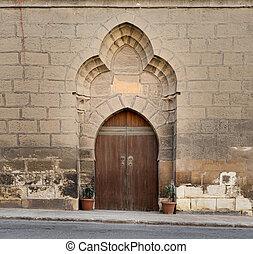 Wooden arched door, Citadel of Cairo, Egypt