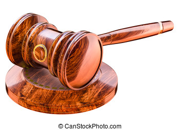 Judges Gavel lying on a block - Wooden gavel in court of law