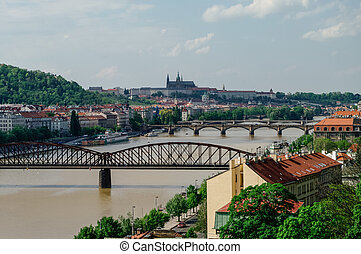 River Vltava with bridges in Prague, Czech Republic