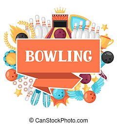 Background with bowling items. Image for advertising...