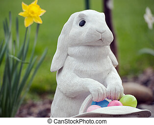 easter rabbit and basket of eggs - white rabbit and daffodil