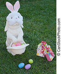easter rabbit with party mask - masked rabbit with an easter...