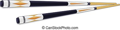 Billiards sticks - set of 2 billiards sticks with painted...