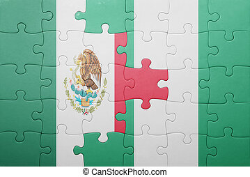 puzzle with the national flag of mexico and nigeria concept...