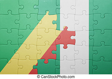 puzzle with the national flag of republic congo and nigeria...
