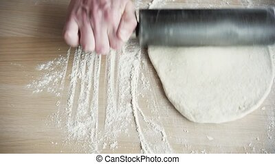 Girl Rolls Out The Pizza Dough With The Rolling Pin, HD