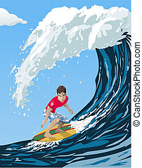 Big wave surfer - Computer-made illustration of a cool...