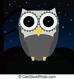 Cute owl sitting on a tree