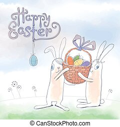 Happy Easter cute vector greeting c