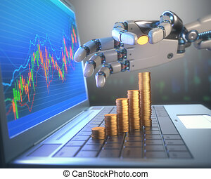 Robot Trading System On The Stock Market - 3D image concept...