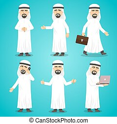 Arab Images Set - Cartoon images set of arab man in...