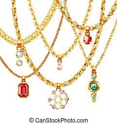 Golden Chains With Pendants Set - Golden jewelry chains set...