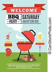 BBQ poster illustration - BBQ poster with grill and cooked...