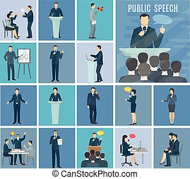 Public Speaking Flat Icons Set - Public speaking to live...