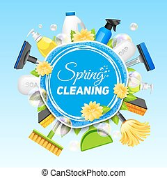 Cleaning Service Poster - Poster with composition of...