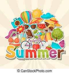 Background with summer stickers. Design for cards, covers,...