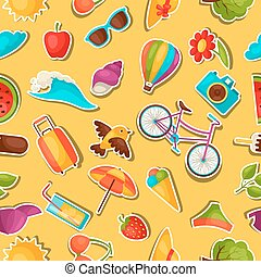 Seamless pattern with summer stickers. Background made...