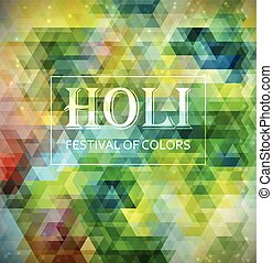 Holi - Indian Festival of Colours Bright colorful card -...