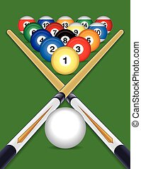 billiards balls with cue sticks - billiards balls cued with...