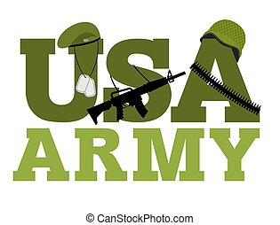 United States Army. Military text logo. American army. Green beret and protective soldiers helmet. Military Rifle and army badge. Bandolier. bandolier, ammunition belts