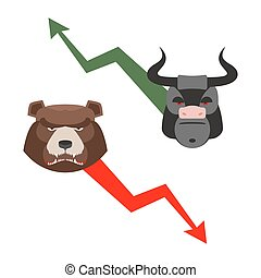 Bull and bear Traders allegory Green up arrow-increase...