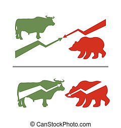 Bull and bear. Rise and fall of securities. Green Bull. Red bear. Confrontation between traders on stock exchange. Business illustration