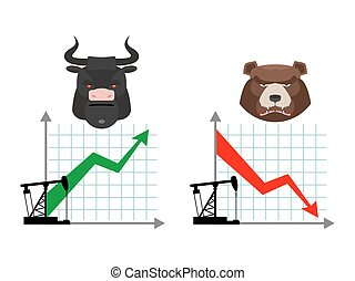 Bear and bull Quotations of oil production Oil rig...