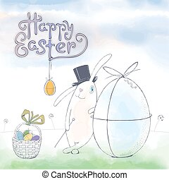 Happy Easter cute funny vector greeting card with Easter...