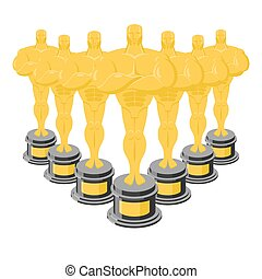 Golden statuette. Many gold figures for awards. Golden statue. Collection of gold statuettes. Dream of actor and Director
