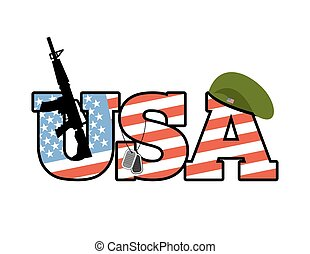 US Army emblem. Flag of  United States. Military green beret. Rifle. Soldiers badge. Patriotic country logo. USA army. American flag and gun. American troop logo