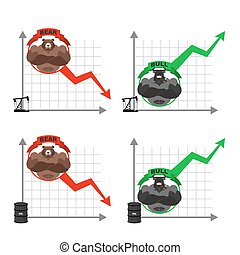 Business oil production graph. Oil rig. barrel of oil. Bull and bear. Set infographics for business projects. Red down arrow-drop. Green up arrow-increase