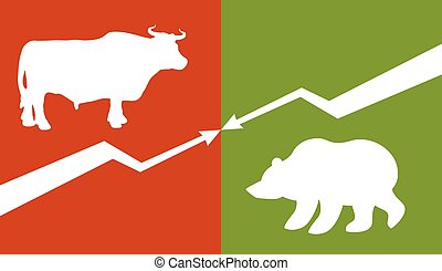 Bull and bear Traders at stock exchange Business allegory...