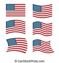 Flag of USA. Set of flags of America in various shapes. American flag on white background. Evolving  flag. National symbol of United States