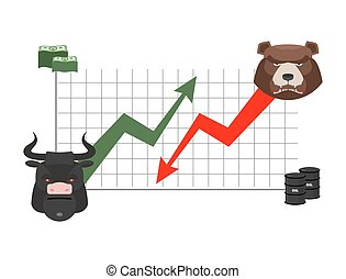bull and bear finance. Rise and fall of quotations. Players on Exchange. Business chart, dollar and oil barrel. bulls  green up arrow. Bear red down arrow