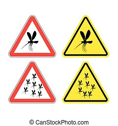 Warning sign attention mosquitoes Hazard yellow sign Zika...