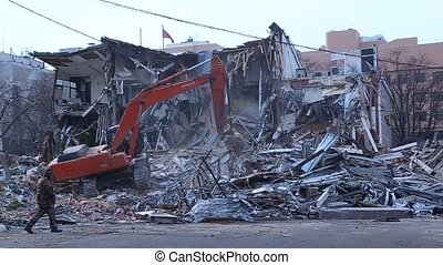 destruction of buildings - Man suits and looking at the...