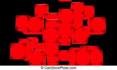 Red Shining Cube Abstract On Black Background. Abstract 3DCG...