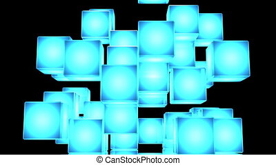 Blue Shining Cube Abstract On Black Background Abstract 3DCG...