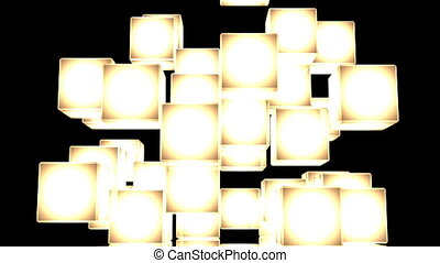 Yellow Shining Cube Abstract On Black Background. Abstract...