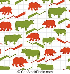 Bulls and bears seamless pattern Exchange traders Red up...