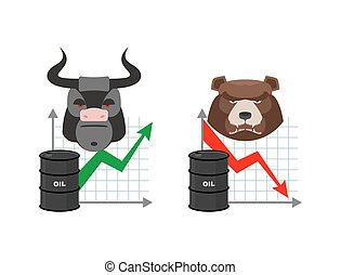 Oil quotations increase. Barrel of oil declines. Bull and bear. Business graph. Traders in securities market. Players on the Exchange. Green arrow and red arrow