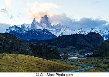 Fitz Roy mountain and El Chalten Village in the evening