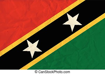 Saint Kitts and Nevis paper flag - Vector image of the Saint...
