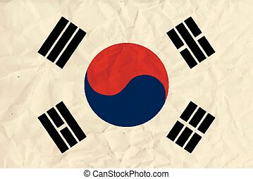 Republic of Korea paper flag - Vector image of the Republic...
